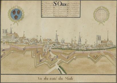 École FRANÇAISE vers 1774  Vue de Saint-Omer...