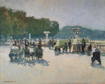 Claude MARIN (1914- 2001) Repos au Luxembourg Huile sur toile signée en bas à gauche....