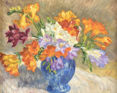 Marie-Lucie NESSI-VALTAT (1910-1992)  Bouquet of flowers in a blue vase  Oil on...