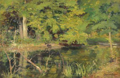 Pierre Georges JEANNIOT (1848-1934)  Vue d'un bord de rivière  Huile sur toile signée...