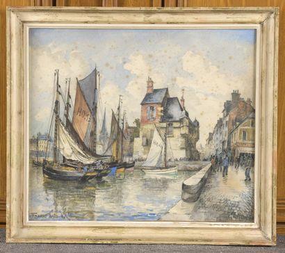 Frank WILL (1900-1951)  La lieutenance à Honfleur  Aquarelle signée et titrée en...