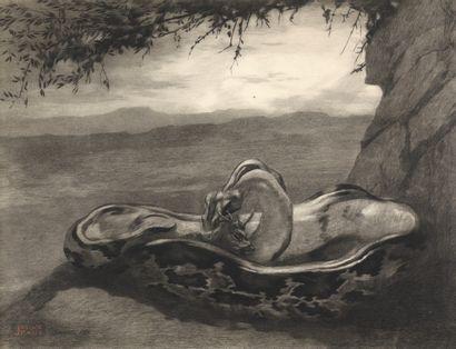 Paul JOUVE (1878-1973)  Python enserrant une antilope, 1908  Dessin pour une planche...