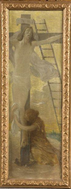 Henry LEROLLE (1848 - 1929)  Crucifixion  Huile sur toile.  65 x 20,5 cm