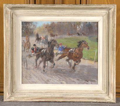 Louis-Ferdinand MALESPINA (1874-1940)  Course de trotteurs  Huile sur panneau d'isorel...