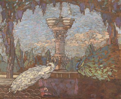 Paul JOUVE (1878-1973)  Paons dans un jardin,...
