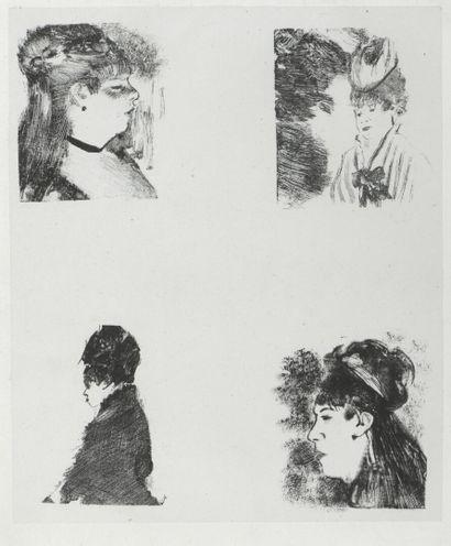 Edgar DEGAS (1834-1917)  Quatre têtes de...