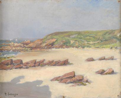 Gaston DOMERGUE (1885-1927)  Bord de mer  Huile sur toile marouflée sur carton signé...
