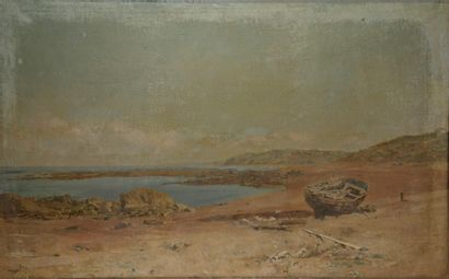 LETRÔNE, FRENCH school of the end of the  XIXth century  The boat  Oil on canvas....