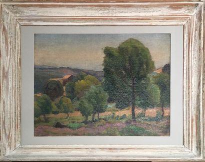 Saburosuke OKADA (1869-1939)  Paysage aux lavandes  Huile sur toile.  26 x 34 c...