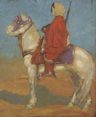 Paul JOUVE (1878-1973)  Cavalier arabe dans le désert, 1908  Huile sur panneau....