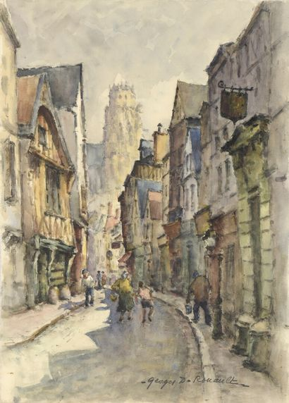 Georges Dominique ROUAULT (1904- 2002)  Rue avec maisons moyenâgeuse et cathédrale...