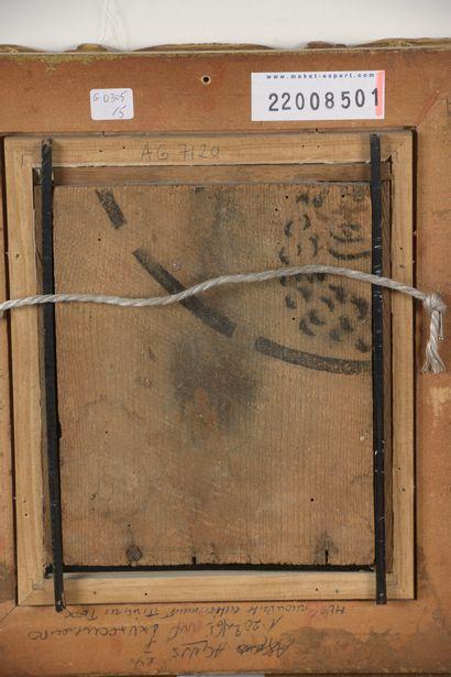 Louis VALTAT (1869-1952)  Jean Valtat agenouillé clouant un cadre ou un châssis,...