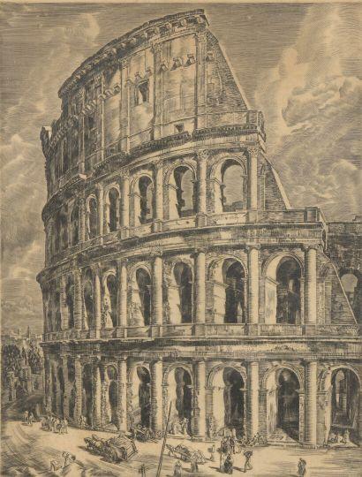 École ITALIENNE vers 1920  Le Colisée animé de personnages  Burin.  49 x 55 cm