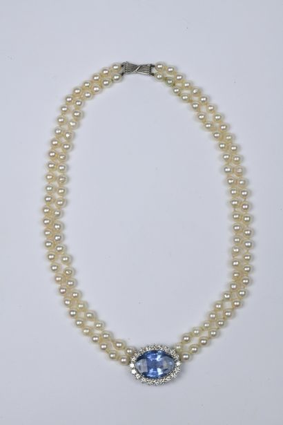 Collier deux rangs de perles de culture (D....