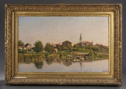 Mario CARL-ROSA (1855-1913)  Paysage de bord de fleuve  86 x 140 cm  Cadre en bois...
