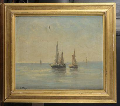 CATROU, école FRANÇAISE du début du XXe siècle  Bateaux de pêcheurs sur une mer...