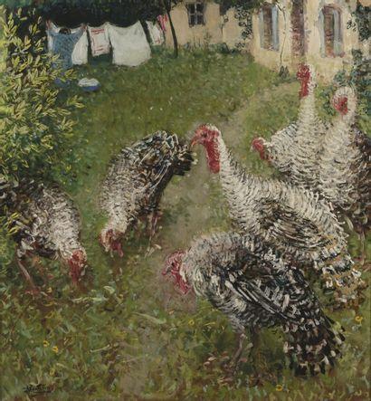 Pierre-Eugène MONTEZIN (1874-1946)  Dindons dans un jardin  Huile sur carton marouflé...