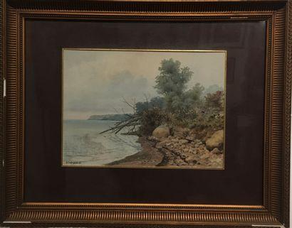 Karl Eduardovich GEFTLER (1853-1918)  Vue du bord de mer à Occhio, 1891  Aquarelle...