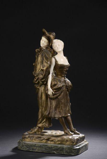Luis Edouard LEROLLE (1868-?)  Couple  Statuette...