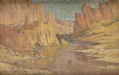 Léon GEILLE DE SAINT-LÉGER (1864-1937)  Baignade en bord de l'oued  Huile sur toile...
