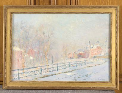Albert LEBOURG (1849-1928)  La rampe Saint-Hilaire, à Rouen par temps de neige,...