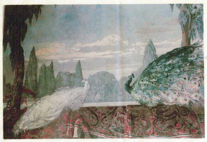 Paul JOUVE (1878-1973)  Paons dans un jardin, Alger, circa 1920  Première étude...