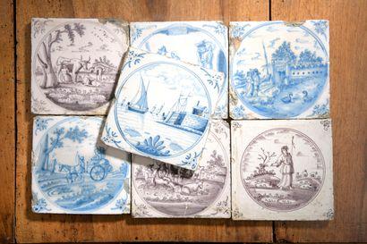 DELFT, XVIIIe siècle - Lot de sept carreaux....