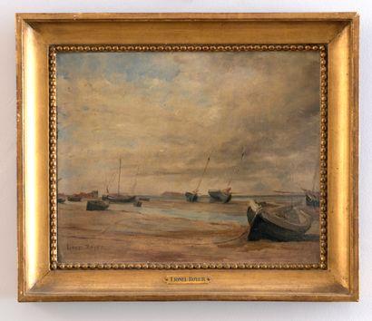 Lionel ROYER (1852-1926)  Bateau à l'échouage...