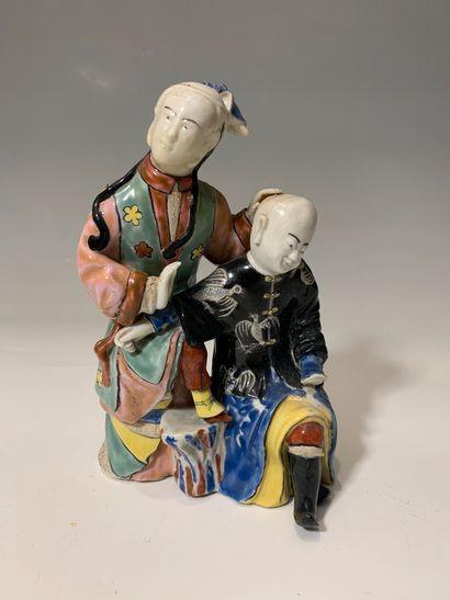 CHINE - Groupe en porcelaine représentant...