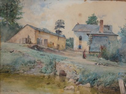 Lionel ROYER (1852-1926)  Cour de ferme  Aquarelle....