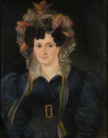 École FRANÇAISE, 1828  Portrait de femme...
