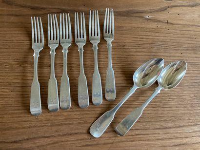 Six grandes fourchettes et deux grandes cuillères...