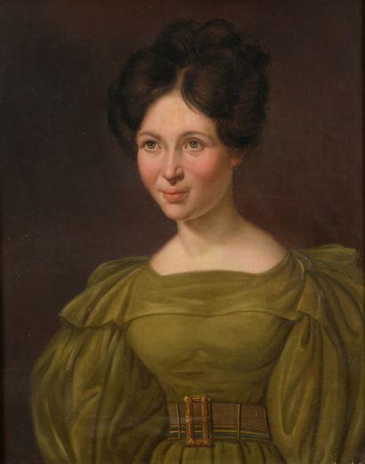 École FRANÇAISE vers 1830  Portraits de M....