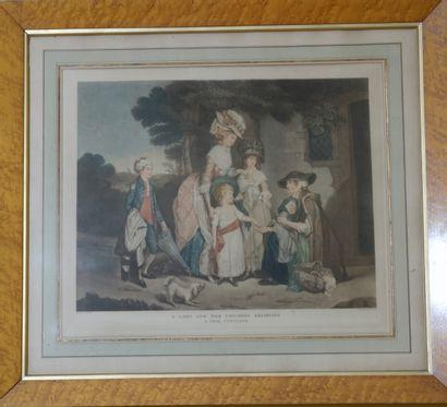 D'après BIGG  Le favori recouvré et A poor cottager  Deux gravures en couleur encadrées....