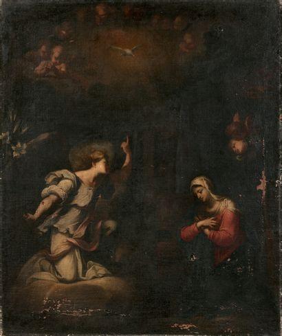 École ITALIE du Nord du XVIIe siècle  L'Annonciation...