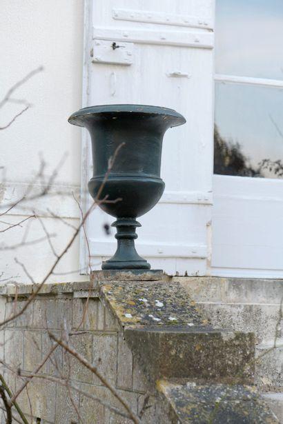 Paire de vases Médicis en fonte, fin du XIXe...