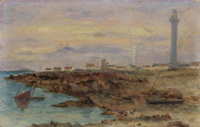 École FRANCAISE vers 1900  Paysage au phare...