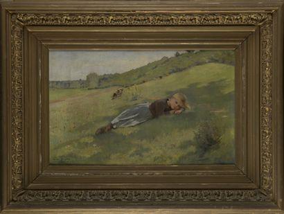 Pierre André BROUILLET (1857-1914)  Petite vachère allongée dans l'herbe, 1902  Huile...