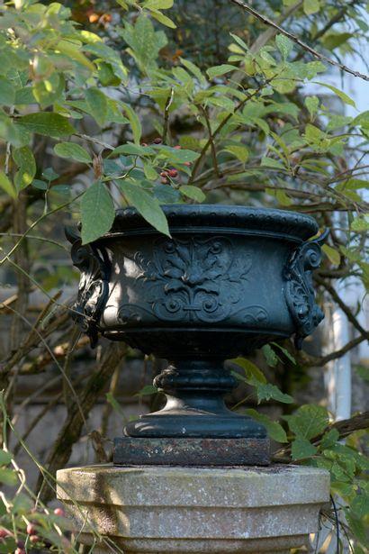 Paire de vases en fonte, fin du XIXe s.  À...