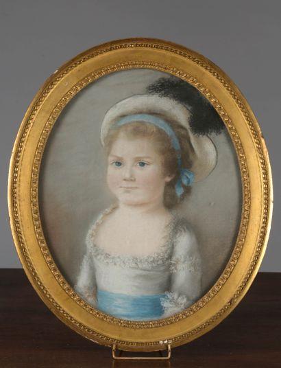 Adélaïde LOOS, école FRANÇAISE vers 1780  Portraits d'enfants  Deux pastels ovales....