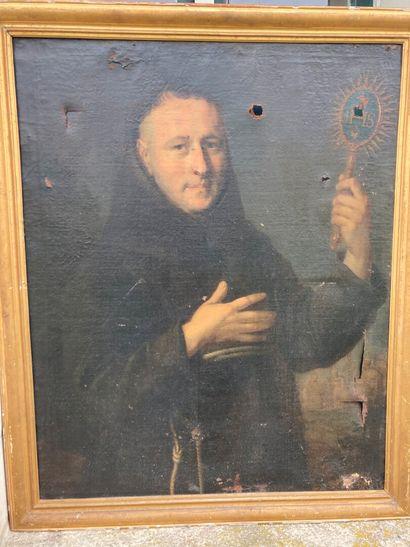 École FRANCAISE du XIXe siècle.  Portrait de moine portant un ostensoir  Huile sur...