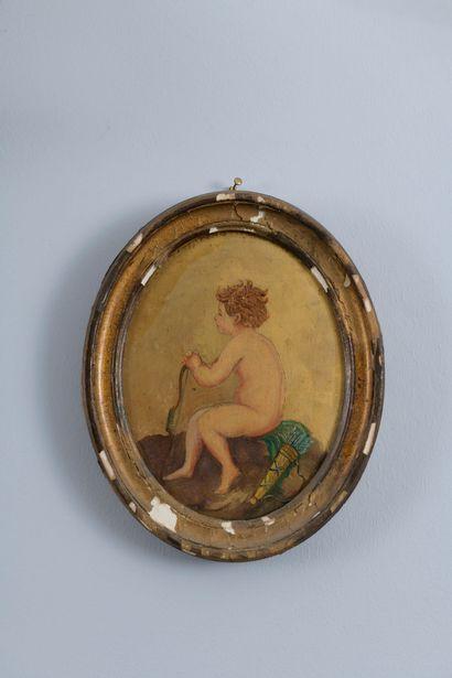 École FRANÇAISE vers 1900  Amours  Deux médaillons de style Louis XVI.  19 x 14...