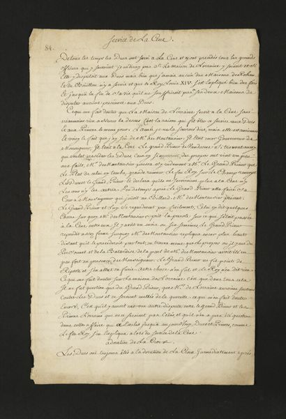 LABEL. 8 manuscript pieces, 18th c.; ca. 45 pages in-fol.  Extract from the ceremonies...