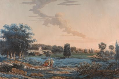 FRENCH SCHOOL, follower of Louis Moreau  Views of a river bank, ca. 1780  Two gouaches....