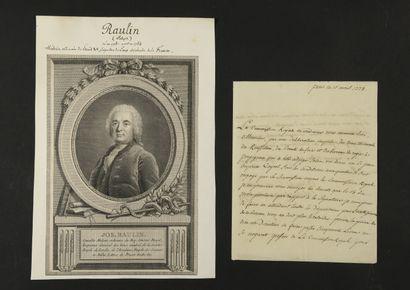 MÉDECINE. 6 L.A.S., XVIIIe siècle (4 portraits...