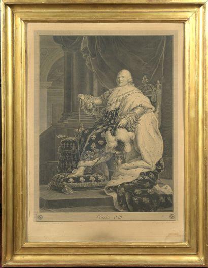 D'après le baron GÉRARD gravé par MASSARD  Louis XVIII en costume de sacre, 1819...