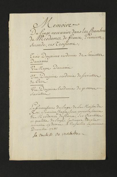 Maison de LOUIS XV. 18 lettres ou pièces,...