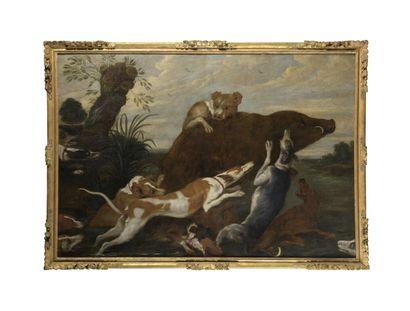 École FLAMANDE du XVIIe siècle suiveur de Paul de VOS  Sanglier forcé par des chiens...