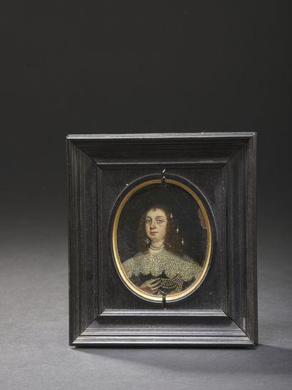 Attribué à Wolfgang HEIMBACH (Oldenburg c. 1605/13 - 1678)  Portrait de dame au...