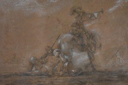 Ecole française de la première moitié du XVIIIe siècle  Scènes de guerre  Mine de...